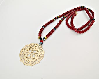 Red pendant necklace, Long bordeaux beaded necklace with gold plated pendant, Christmas gift, Layering jewelry, Bohemian necklace