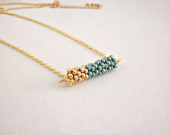 Turquoise gold beaded bar necklace - Minimalist necklace - Gift for her - Holiday gift under 25