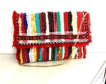 Τσάντα κουρελού κόκκινη τρέσα και δαντέλα / Colorful Bohemian bag
