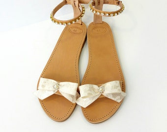 Wedding sandals, Bridal shoes, Rhinestones sandals, Luxury decorated sandals, beach party sandals, Greek leather sandals, Summer shoes