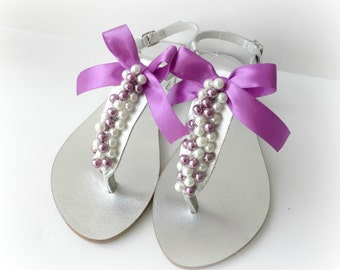 Wedding sandals- Silver leather sandals- Greek leather sandals with pearls and satin bow- Bridal party Decorated sandals-Bridesmaids sandals