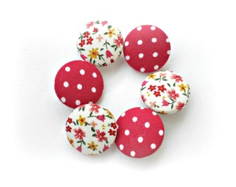 Sewing fabric buttons - Retro floral Red buttons - Covered buttons - Size 45 28mm 1 1/8in - Red polka dots - Floral buttons - Retro buttons