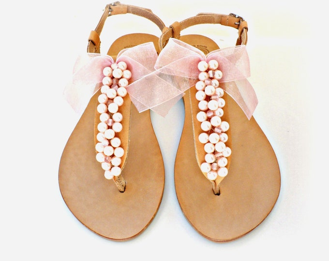 Featured listing image: Σανδάλια με ροζ πέρλες και φιόγκο / Leather Greek sandals decorated with pink pearls sandals
