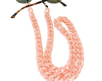Pink sunglasses acrylic chain, Sunglasses acrylic holder, Laces for sunglasses, Eyeglasses holder necklace, Reading Glass Chain Gift For Her
