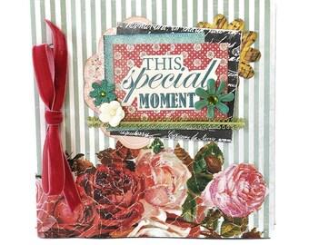 Retro mini album, Floral album, Premade pages, Square 6x6 inches, Memories photo book, Nature album, Mother 's day gift, Ready to ship