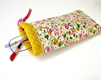Εyeglasse case Floral eyeglasses fabric case Summer pouch Orange yellow case Reader glasses holder Sunglasses Handmade case Soft fabric case