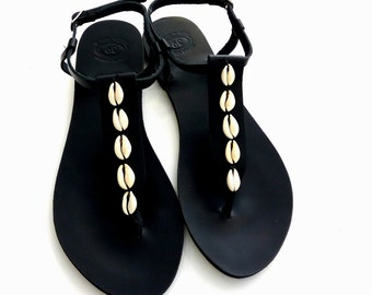Black sandals with sea shells, Greek leather sandals, Cowrie shells black sandals, Summer sandals, Beach sandals, Handmade leather sandals