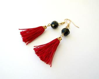 Tassel earrings, Boho earrings, Bordeaux tassel earrings, Black beads earrings, Boho earrings, Party earrings, Gift for her