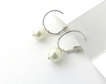 Silver hoop with pearl earrings, Wedding pearl earrings, Minimalist jewelry, Pearl earrings, Delicate earrings, Bridal pearl hoop earrings