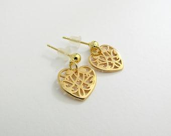Επίχρυσα σκουλαρίκια με καρδιές  / Gold heart earrings