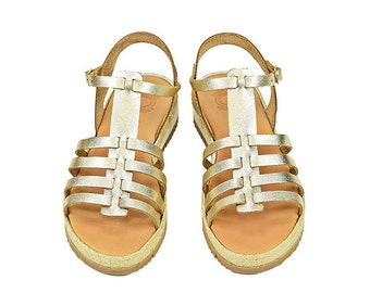 Gladiator gold sandals, Greek leather sandals, Εspadrille platform sandals, Gold sandals ,Greek leather sandals  Comfortable shoes