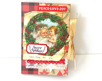 Christmas scrapbook mini album, Premade mini album, Christmas memories, Handmade mini album, Christmas gift, Photo book, Ready to ship