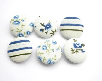 Fabric buttons- Blue buttons -Size 45 28mm buttons - Covered buttons -Sewing fabric covered buttons -Floral buttons - Stripes fabric buttons