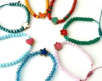 Βeaded bracelet, Adjustable bracelet, Layering bracelet, Pink bracelet, Heart bracelet, White star enamel bracelet, Green Blue bracelet