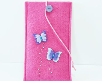 Pink felt phone case Mobile phone case with butterflies, Cell phone case Pink felt phone eyeglass case  Gadget case Gift for her