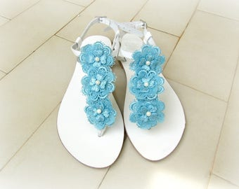 Wedding sandals -White sandals with Blue lace flowers - Something blue - Bridal party - Greek leather sandals - Beach wedding - Summer shoes