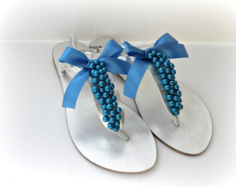 Silver Wedding sandals, Blue decorated silver sandals, Greek leather sandals, Bridesmaid flats, Leather sandals, Bridal party, Beach wear