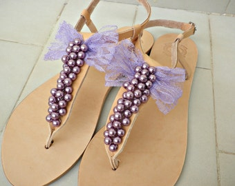 Greek leather sandals -Purple pearls sandals with bow - Wedding flats -Bridesmaids sandals- Purple pearls sandals - Decoreted sandals