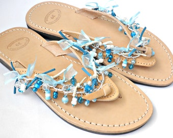 Greek leather decorated sandals, Wedding flats, Summer sandals, Boho sandals with silver chain and beads