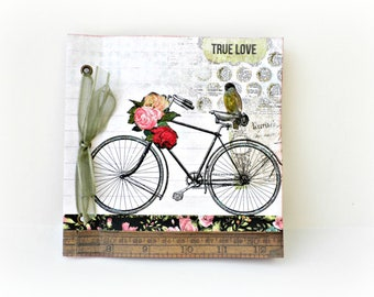 Romantic mini album, Premade photo mini album, Square 6x6 inches 15x15 cm, Memories photo book, Bicycle mini album, Mothers day gift