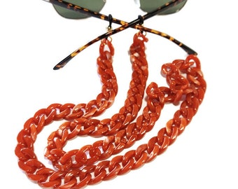 Orange coral sunglasses chain, Flat acrylic tortoiseshell chain, Coral orange glasses chain, Laces for sunglasses Eyeglasses holder necklace