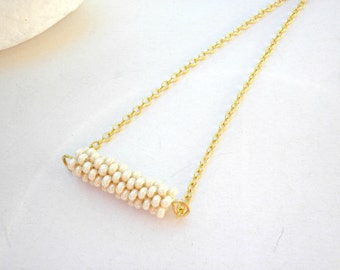 White bar beaded necklace- Bar necklace- Bridesmaid minimalist necklace-Geometric necklace-Tube beaded bar necklace -Layering gold necklace