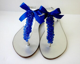 Wedding sandals, Blue decorated silver sandals,Greek leather sandals, Cobalt blue beads and satin bow Bridesmaid flats,  Bridal party,