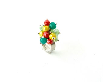 Adjustable colorful ring, Rainbow ring, Summer beaded ring, Tropical ring beaded ring, Cocktail ring, Adjustable beaded ring