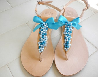 Blue pearls decorated sandals- Leather Greek sandals- Wedding shoes- Summer flats- Bridesmaids sandals- Something blue- Summer sandals-