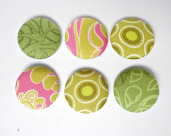 Covered buttons, Fabric buttons, Green fabric buttons, Pink buttons, Fabric covered buttons, Green buttons, Size 36 22mm 7/8 inch
