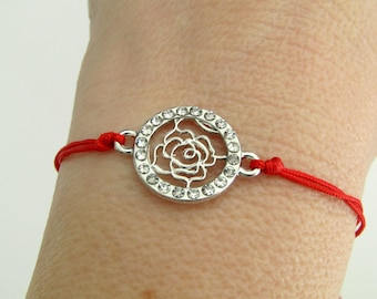 Red bracelet, Silver rose bracelet, Red string bracelet, Adjustable red cord bracelet, Anniversary gift, Layering jewelry, Mothers day gift