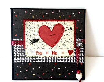 Love accordion mini album,Valentines day gift, Love photo book, Premade album, Red heart album, Memories album, Square 6x6, Ready to ship