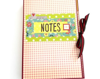 Notepad holder, Grocery list, Scrapbook notebook holder, Retro handmade notedpad holder, Teachers gift, Writers gift, Back to school notepad