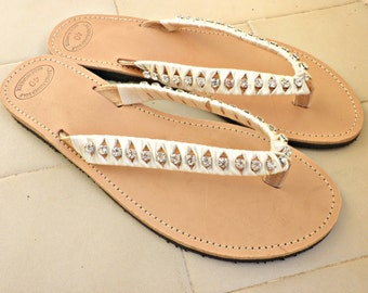 Wedding sandals- Greek leather sandals - Rhinestones crystal and satin ribbon flip flops-Summer sandals-Silver rhinestone decorated sandals