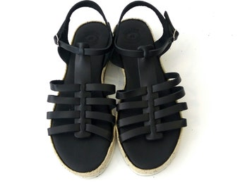 Black sandals, Greek leather sandals, Εspadrille platform sandals, Everyday women black shoes, Gladiator leather sandals, Comfortable shoes