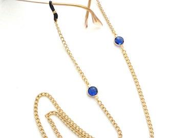 Sunglasses chain with blue beads/ Eπίχρυση αλυσίδα για γυαλιά με μπλε χάντρες