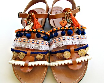 Pompom gladiator sandals, Boho sandals, Blue and orange decorated with tassel sandals, Summer flats, Sunset in Santorini, Spartan sandals