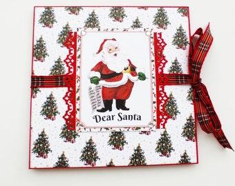 Santa mini album, Christmas accordion album, Premade pages, Square 6x6 photo book, Handmade mini album, Red mini album, Christmas gift