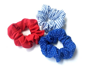 Red cotton scrunchy, Blue stripes, Blue polka dots scrunchy, Set of 3 scrunchies, Navy scrunchies, Handmade scrunchies, Gift for her