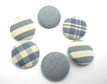 Fabric covered buttons, Blue fabric buttons, Gingham, sripes sewing covered fabric buttons, Stripes blue ivory buttons,Blue gingham buttons