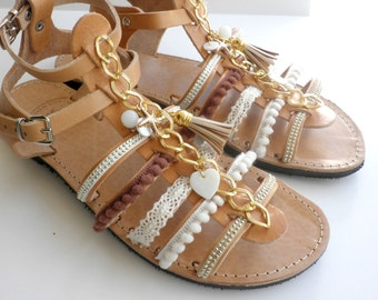 Bohemian leather sandals with pompom gold chain Decorated sandals Spartan sandals Women summer shoes