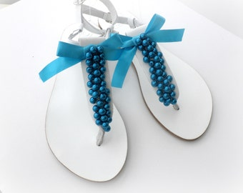 Wedding sandals, White greek leather sandals with blue pearls, Pearls sandals, Bridal party, Bridesmaid flats, Summer shoes, Bridal party