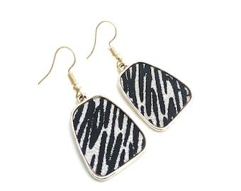 Animal print zebra earrings, Σκουλαρίκια με animal print ζέβρα