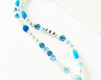 Blue phone strap, Phone beaded bracelet, Phone jewelry, Beaded blue phone string, Handmade phone accessories, Gift for her