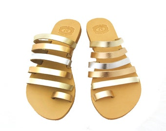 Gold sandals, Strappy sandals, Greek leather sandals, Bridal sandals, Toe ring, Summer leather sandals, Gold women sandals, Luxury sandals