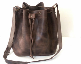 Brown bucket leather bag, Greek bucket bag, Leather bucket bag, Greek leather bag, Crossbody bag, Brown bucket bag, Womens bag, Everyday bag