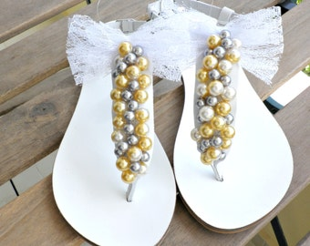 Wedding sandals, Greek sandals, Pearls decorated sandals, White sandals, Beach wedding sandals, Bridal shoes, Bridesmaid flats, Bow sandals