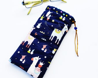 Lama blue eyeglasse case, Blue fabric case, Lama lovers gift, Reader glasses holder, Sunglasses Handmade case, Soft fabric case