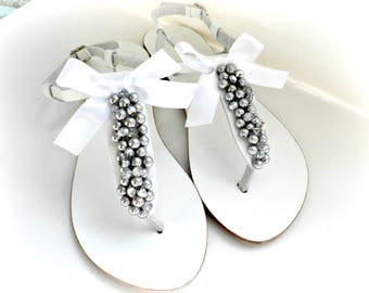 Pearls sandals Wedding sandals Silver pealrs shoes Greek leather sandals Bridesmaid flats  White leather sandals Bridal beach party shoes