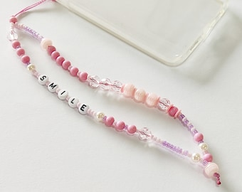 Pink phone strap, Phone beaded bracelet, Phone jewelry, Trendy phone wrist strap, Smile phone strap, Beaded pink phone string, Gift for her